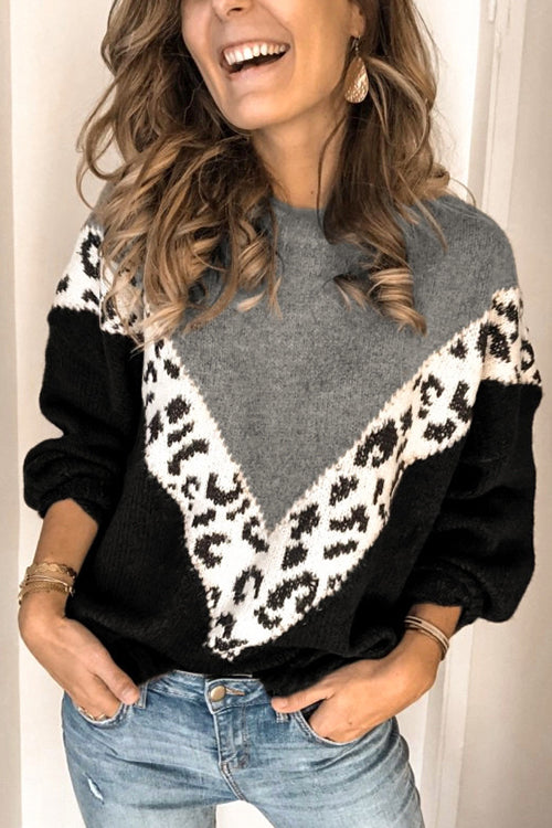 Leopard Print Round Neck Patchwork Sweater
