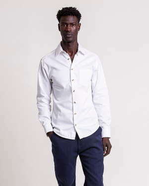 The 1 Pocket Cotton Shirt in Brilliant White
