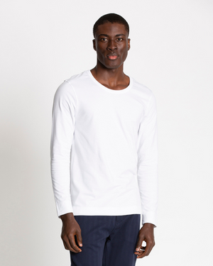 The Cotton Long Sleeve Tee in Brilliant White