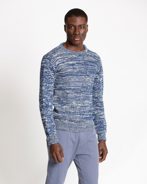 The 1kg Wool & Linen Sweater in Estate Blue and Ecru (Neutral) Melange