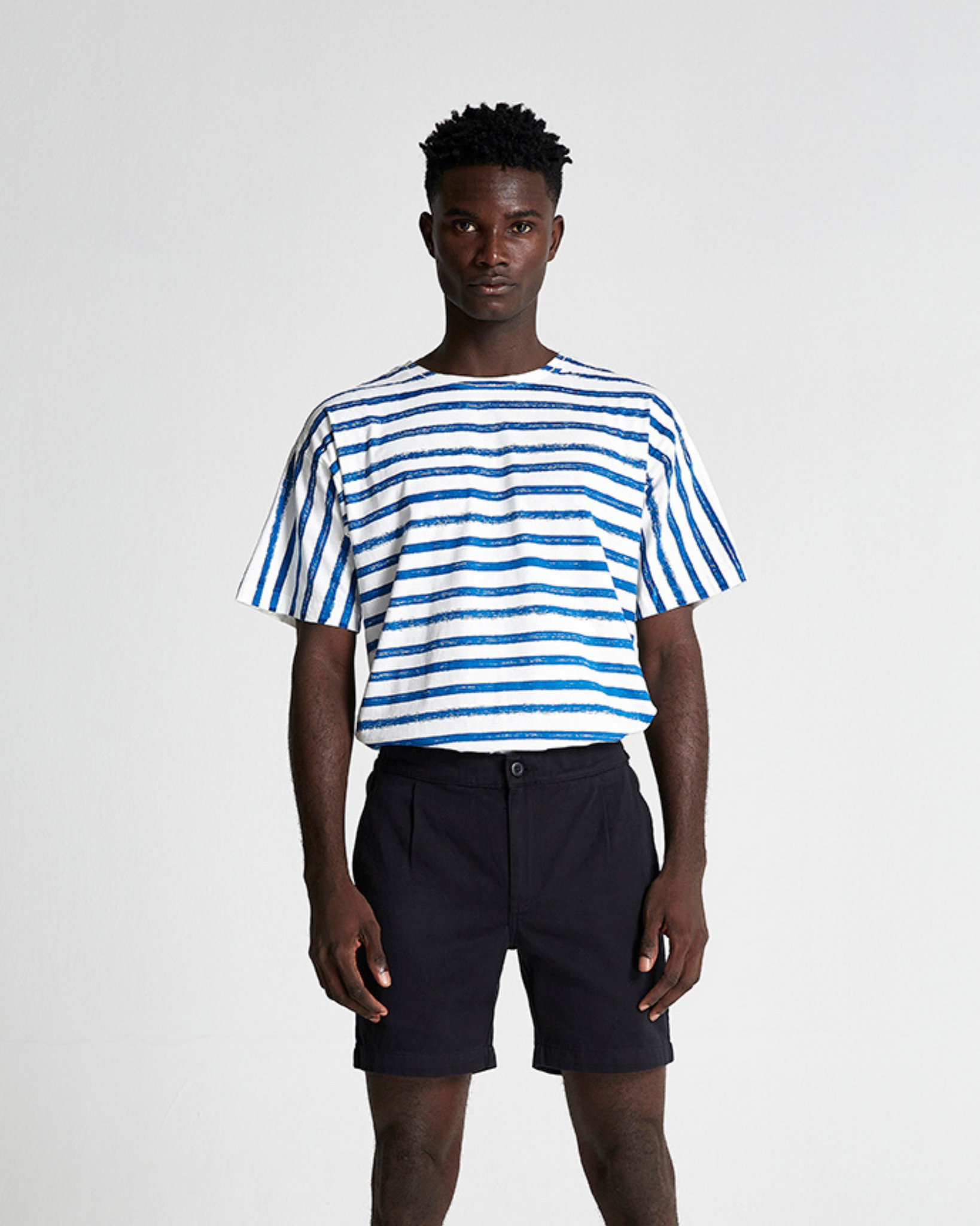The Striped Cotton Box Tee in Turkish Sea Stripe