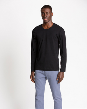 The Cotton Long Sleeve Tee in Black Beauty