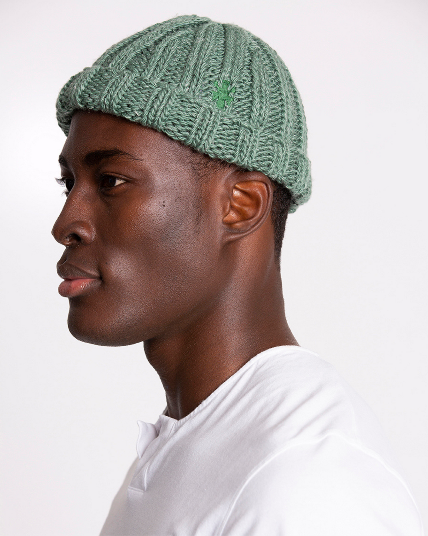 The Wool and Linen Beanie in Myrtle Green