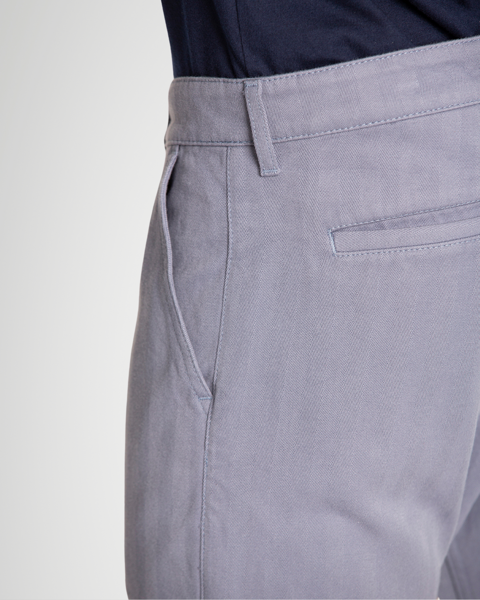The Cotton Herringbone Straight Leg Trouser in Folkstone Grey