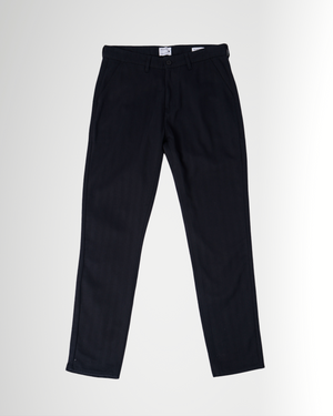 The Cotton Herringbone Straight Leg Trouser in Black Beauty