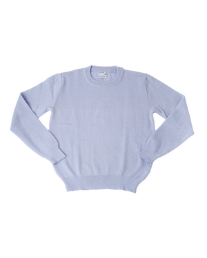 Wool and Mohair Round Neck Knit in Zen Blue