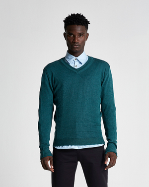 Wool & Mohair V-Neck Sweater (Summer) - Ponderosa Pine