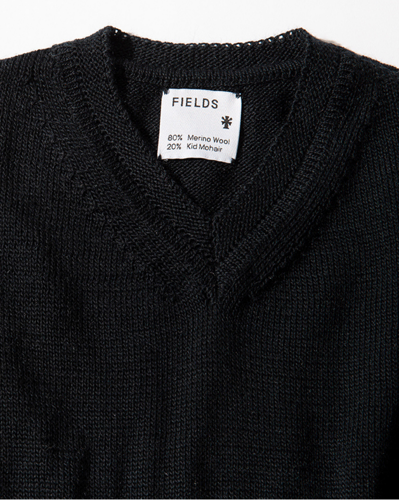 Wool & Mohair V-Neck Sweater - Black Beauty