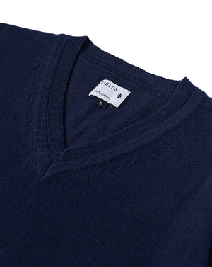 The Cotton V-Neck Sweater in Sky Captain