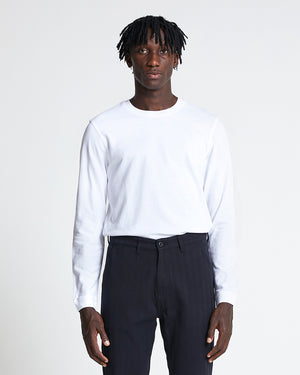 The Long Sleeve Pique Tee in Brilliant White