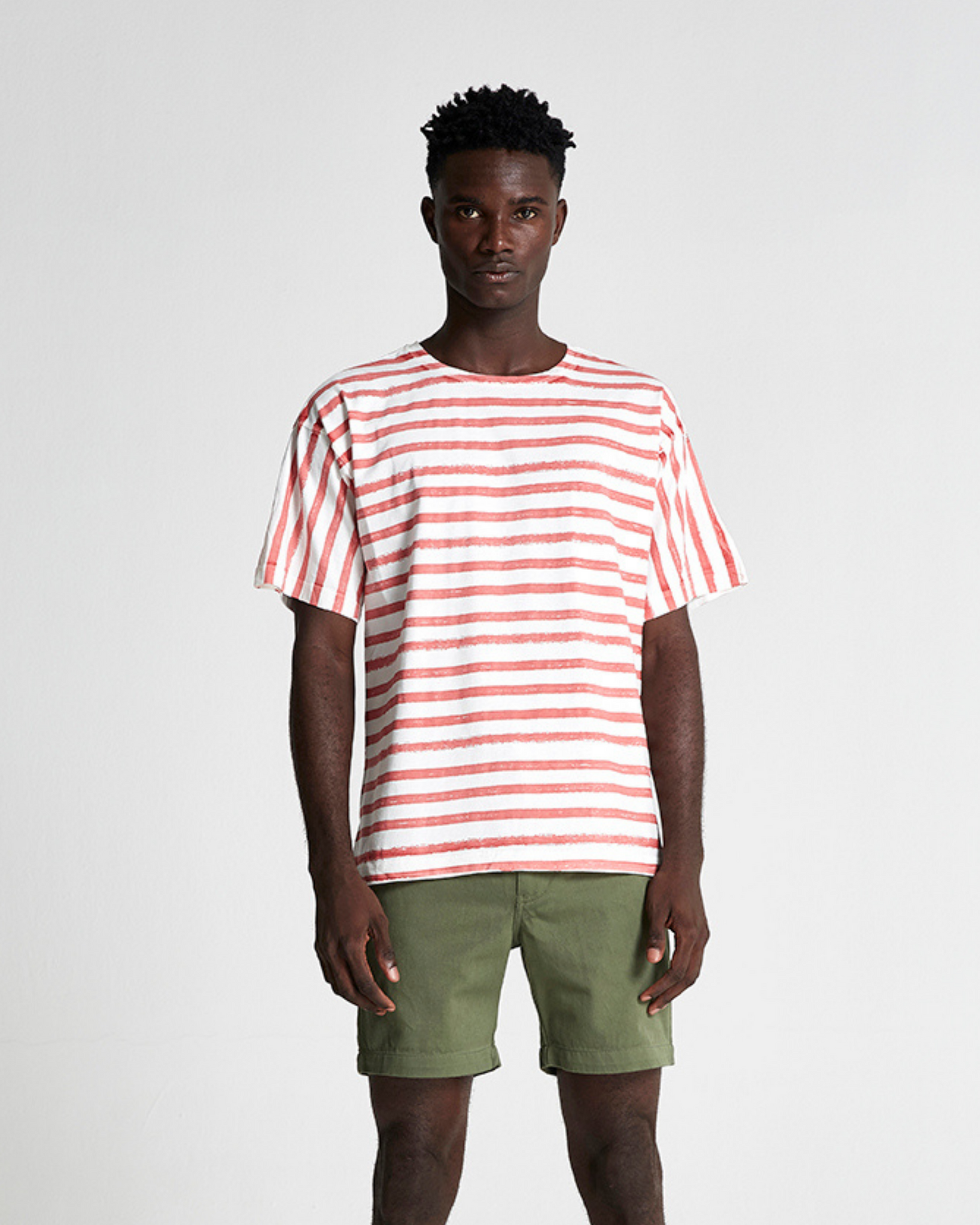 The Striped Cotton Box Tee in Desert Rose