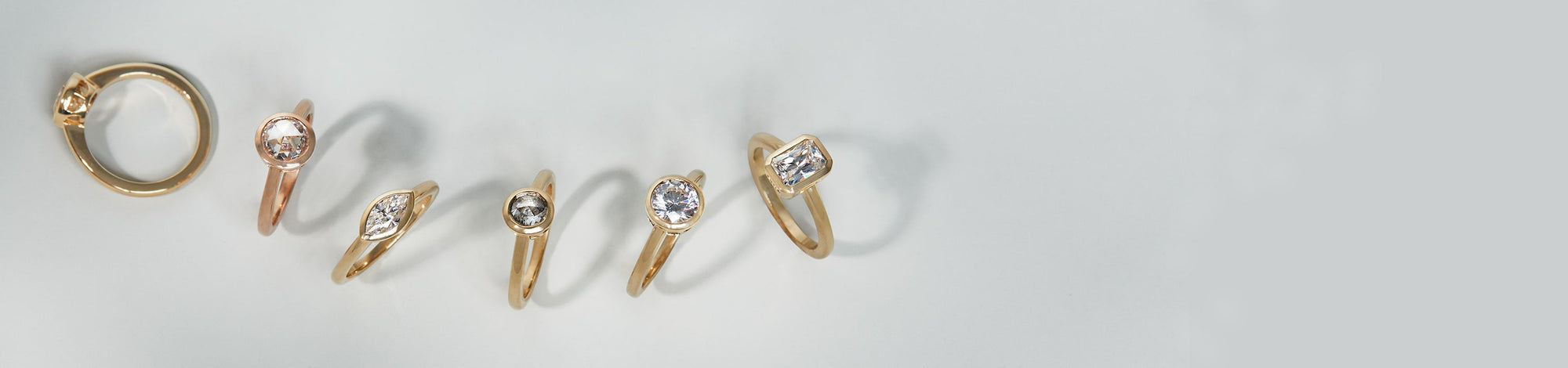 Bezel Rosette Engagement Rings