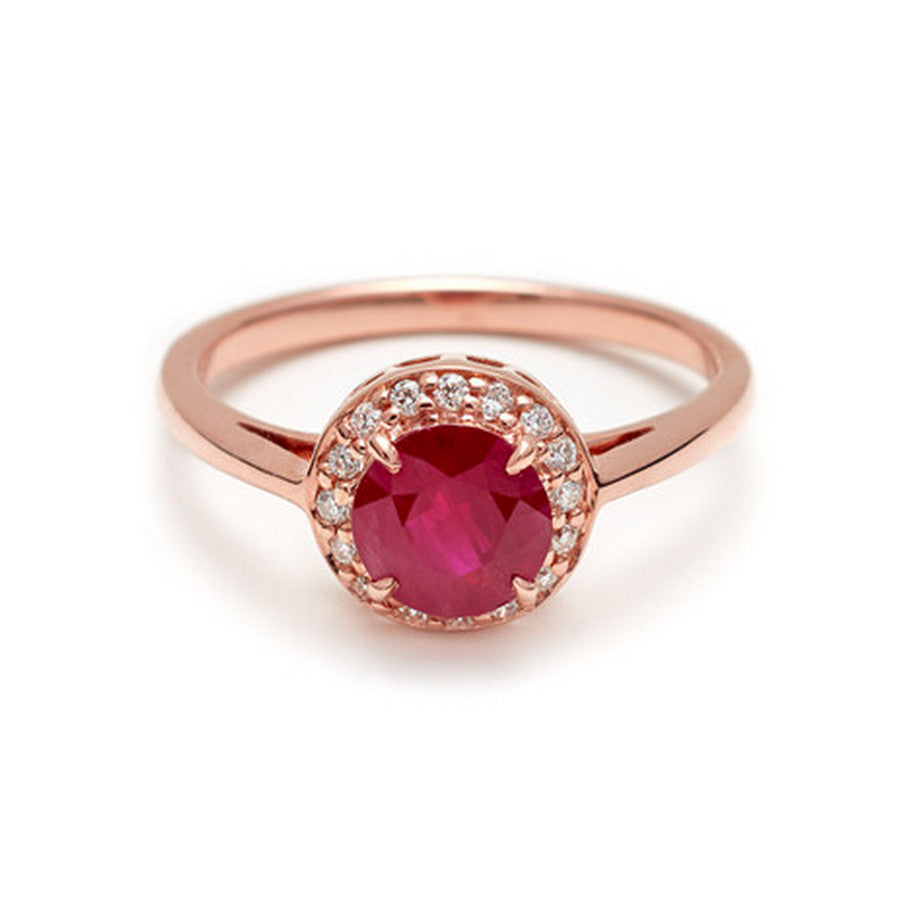 Brand-new Round Rosette Ring - Rose Gold & Ruby (1.0ct) – Anna Sheffield Jewelry MN16
