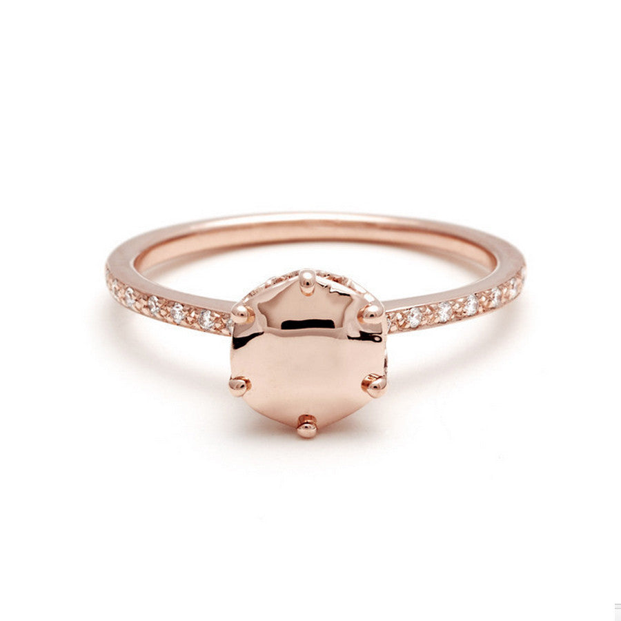 Hazeline Solitaire Engagement Rings 14k Rose Gold Unique Affordable – Anna  Sheffield Jewelry