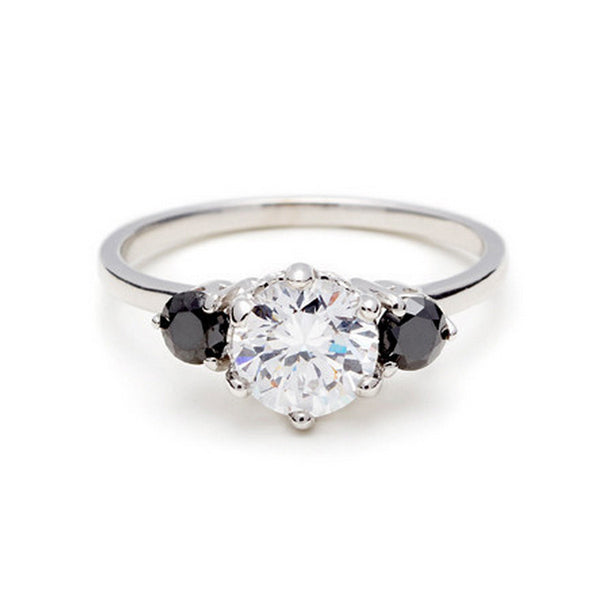 White Diamond With Black Diamond Side Stones Engagement