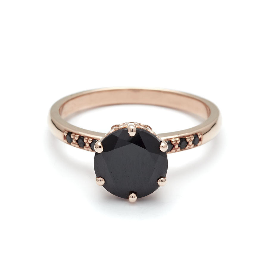 Hazeline Black Diamond engagement ring in 14k rose gold unique ...