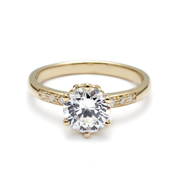 Hazeline Solitaire Ring Yellow Gold & White Diamond 1 0ct