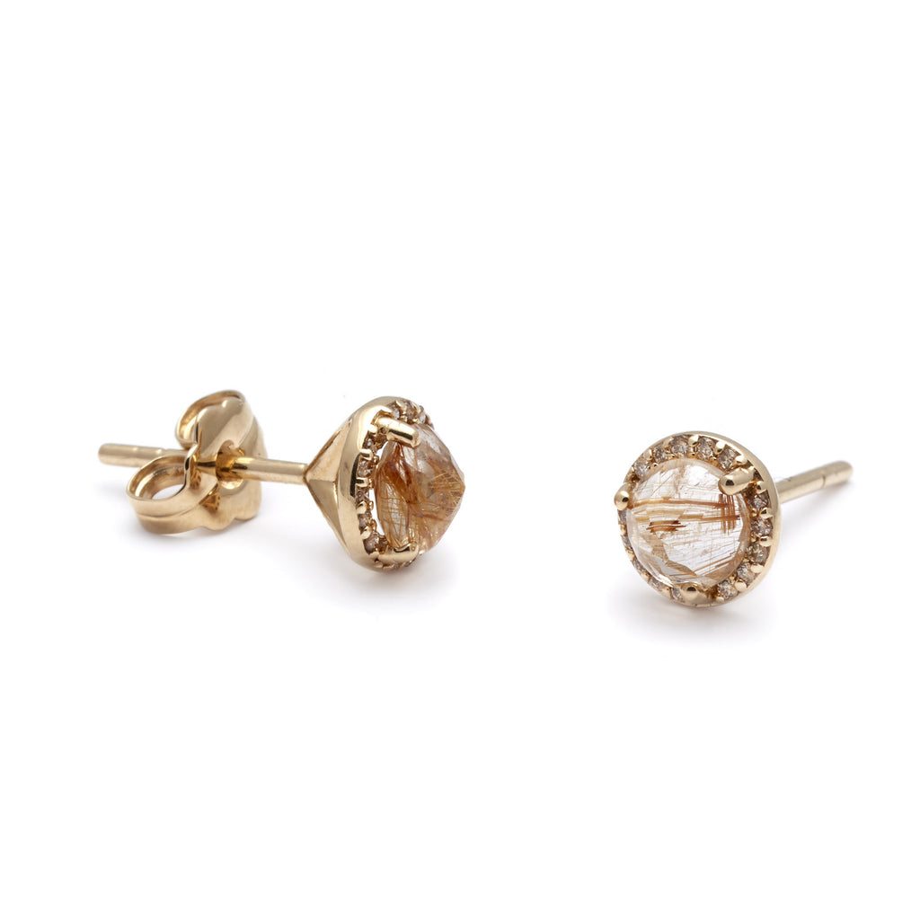 champagne stud halo in diamond ctw rose gold earrings