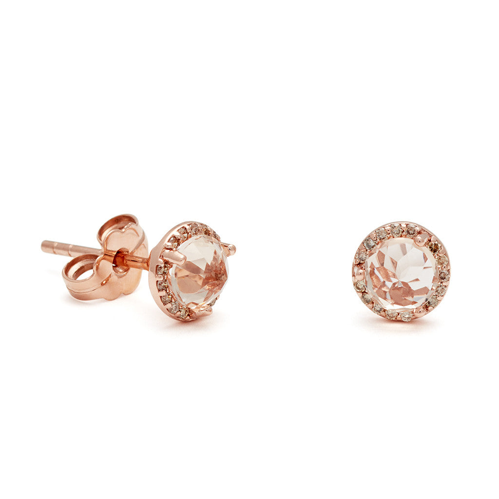 f3fdcb9de39df8 Rosette Stud Earrings (Medium) - Peach Morganite & Champagne Diamond ...