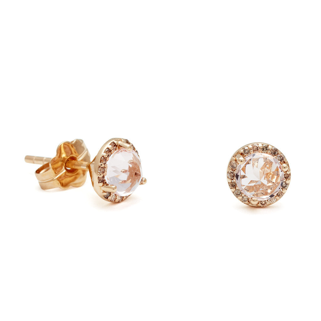 f06df8ce4ce779 Rosette Stud Earrings (Medium) - Pink Morganite & Champagne Diamond ...
