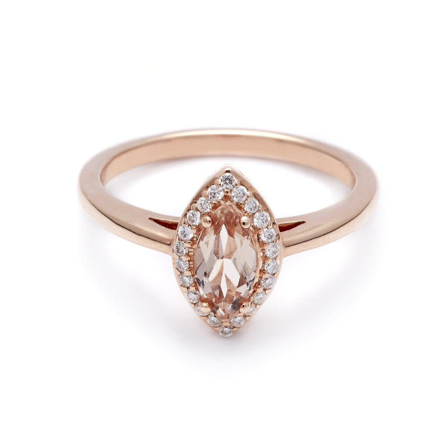8fee6f32902bca Marquise Rosette Ring - Rose Gold & Peach Morganite (8x4mm) – Anna  Sheffield Jewelry