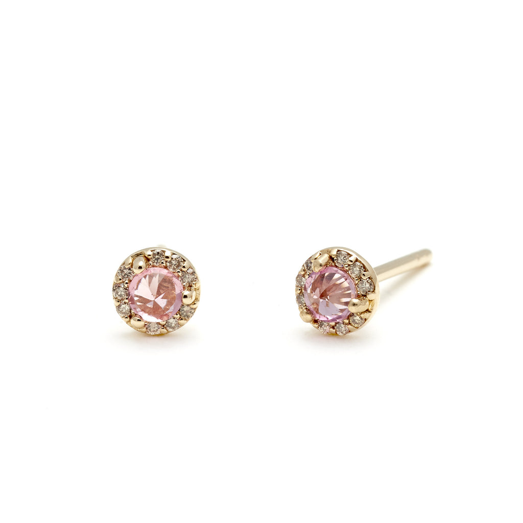 gold halo ctw in earrings champagne rose diamond stud