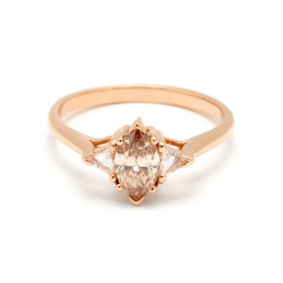 3d6fa00384f24 Marquise Bea Ring - Yellow Gold & Champagne Diamond (.54ct)