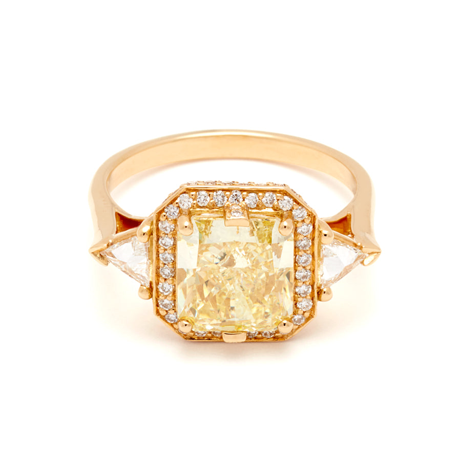 Three Stone Yellow Diamond Engagement Ring In Yellow Gold Anna Sheffield Unique Vintage Anna Sheffield Jewelry