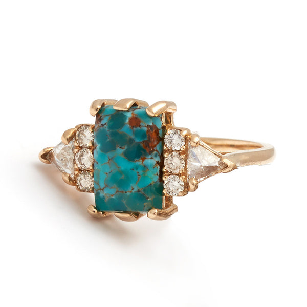 Stardust Turquoise Bea Ring Yellow Gold Champagne
