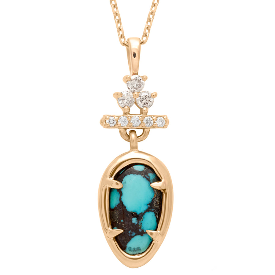Bloom Pear Drop Necklace - Yellow Gold, Turquoise, White & Champagne  Diamonds