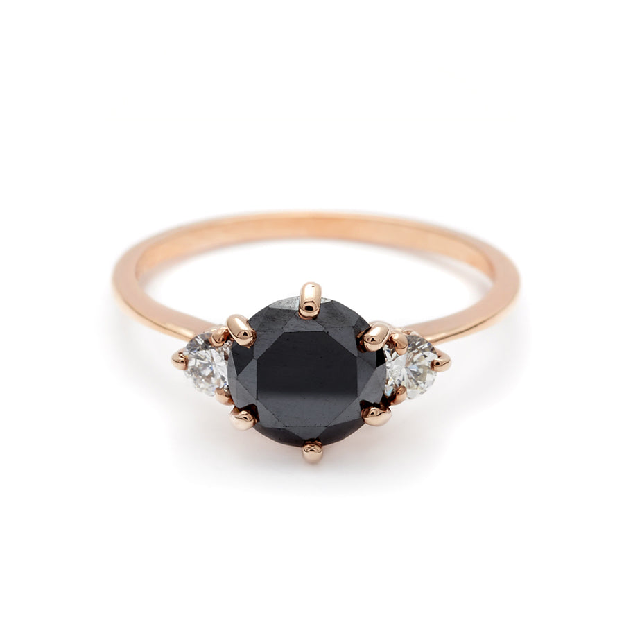 3 Stone Hazeline Black Diamond Engagement 14k Gold Ring Unique