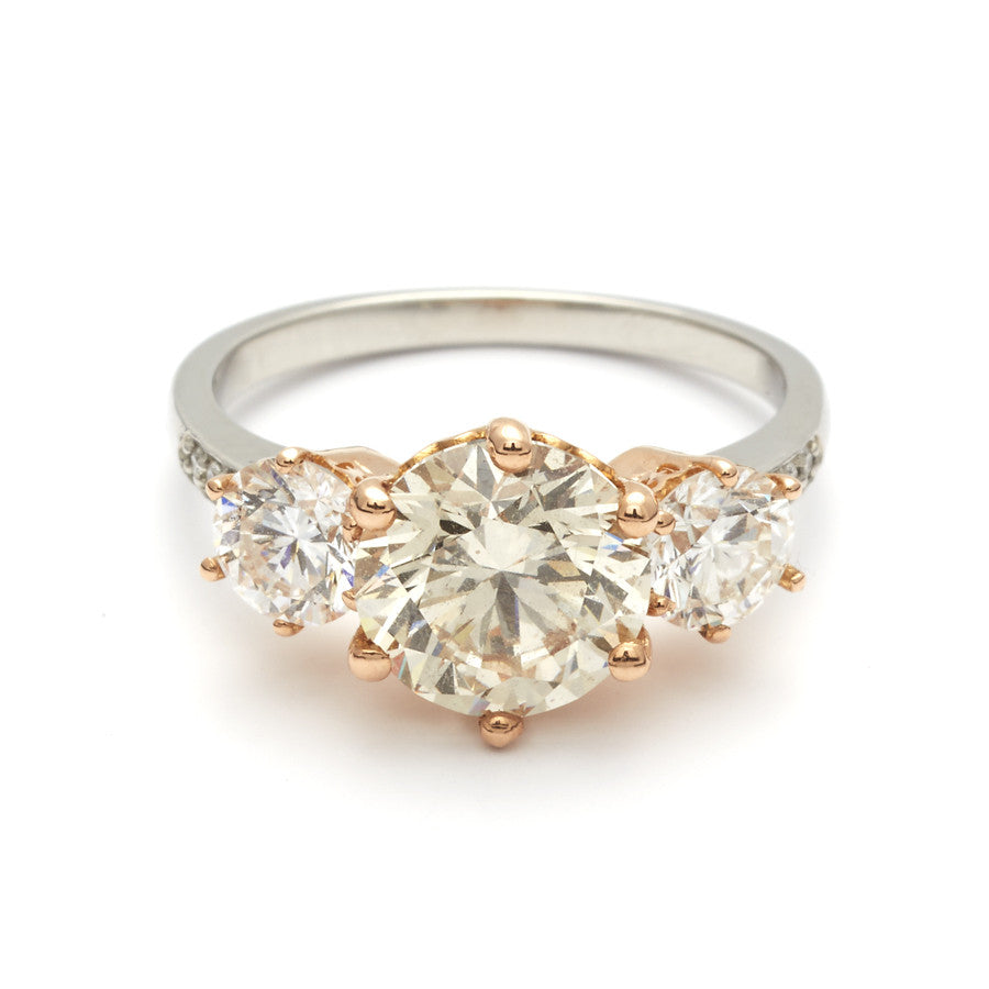 Three Stone Champagne Diamond Hazeline unique engagement ring
