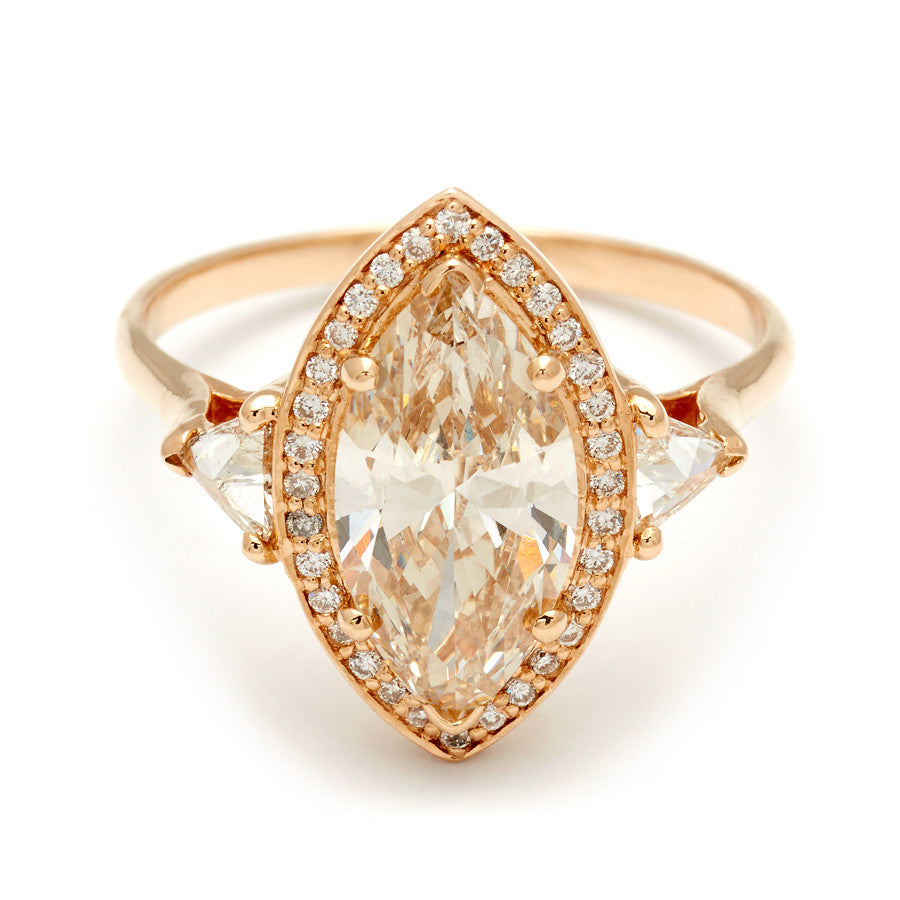 1685d4c40bf96 Marquise Bea Halo Ring - Yellow Gold & Champagne Diamond (2.12ct)