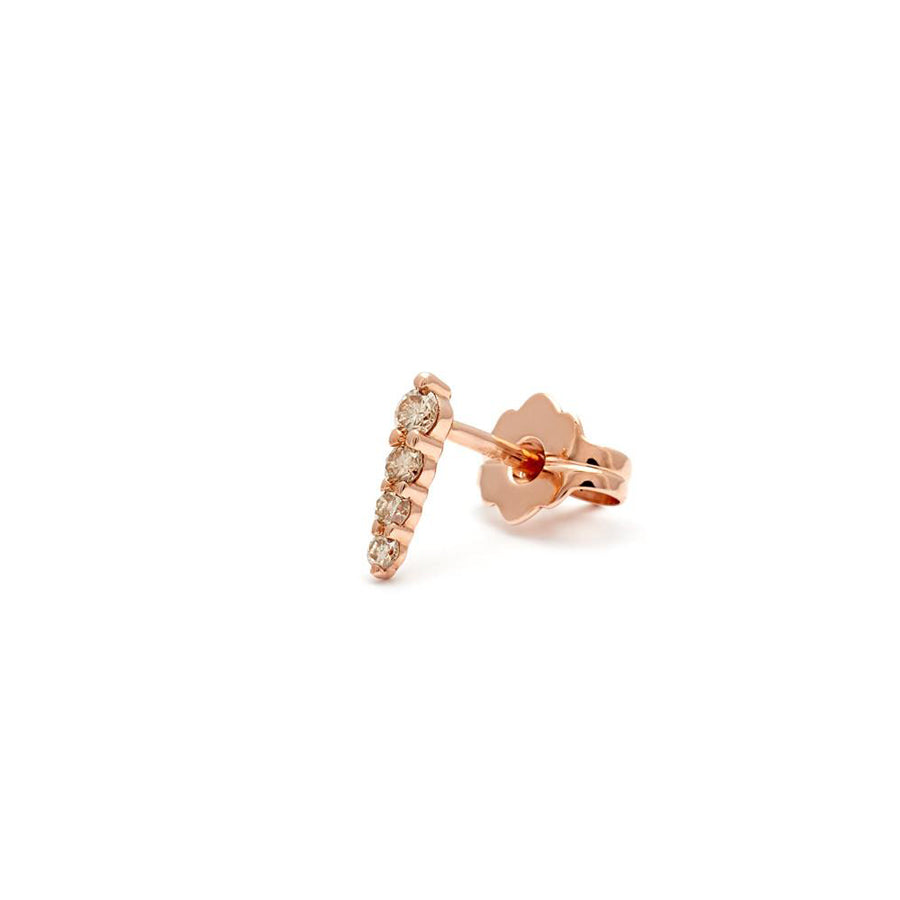 Pavé Pointe Stud Earring (Small) - Rose Gold & Champagne Diamonds ...