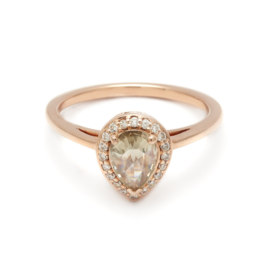 Rosette Pear Ring Rose Gold Champagne Diamond 10ct Anna