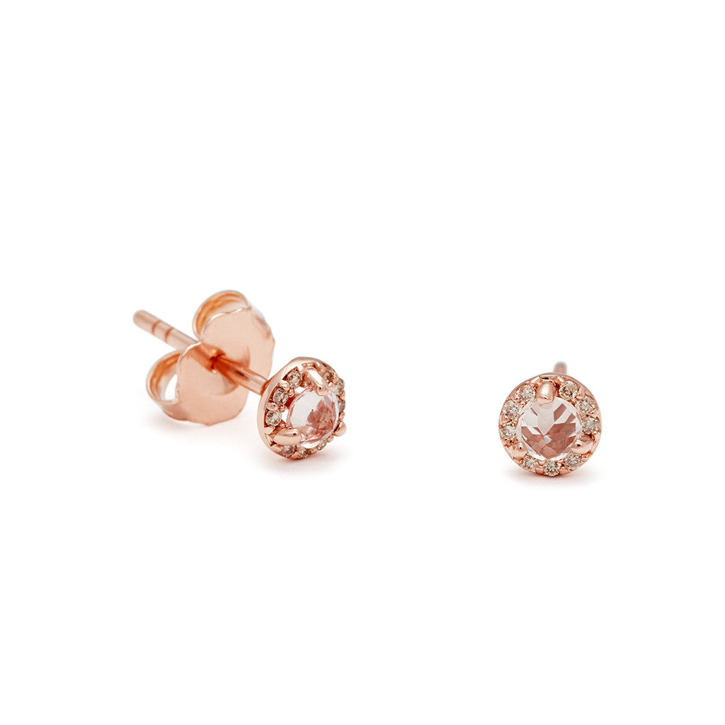 gold htm earrings rose diamond stud morganite p