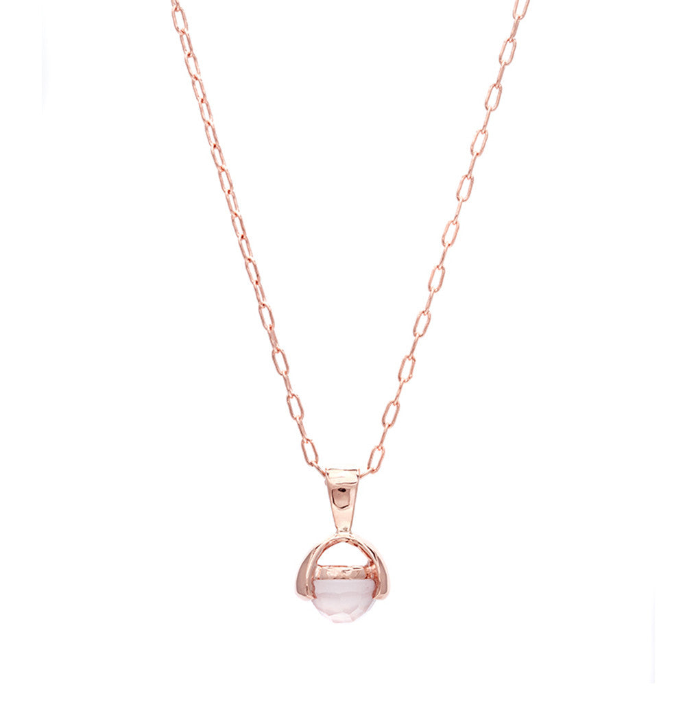 pin in diamond and chain ball gold necklace droplet rose