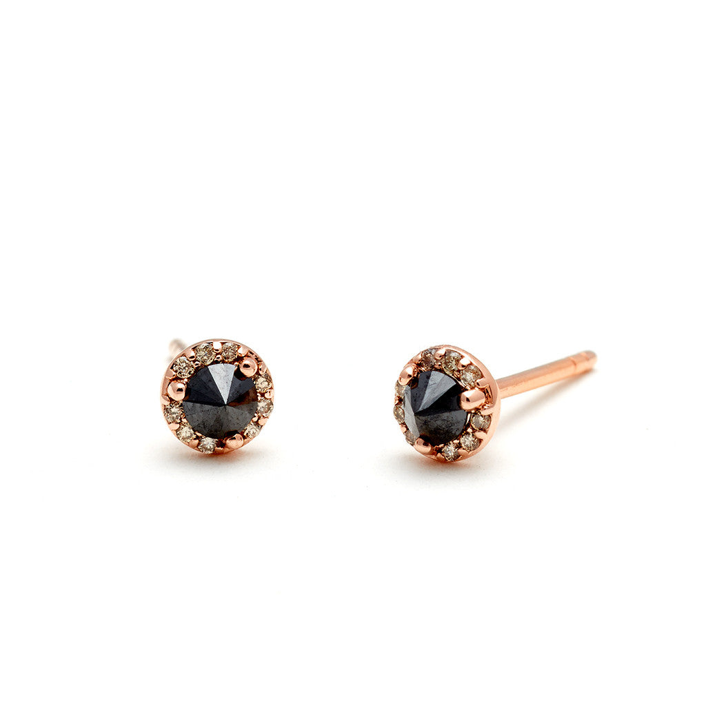 stud earrings gold champagne diamond bloucleschamp diamonds