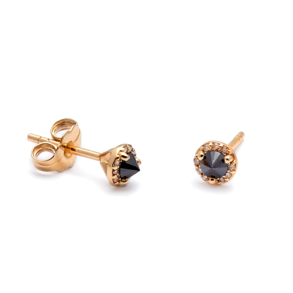 carat yellow gold earrings handmade diamond stud champagne