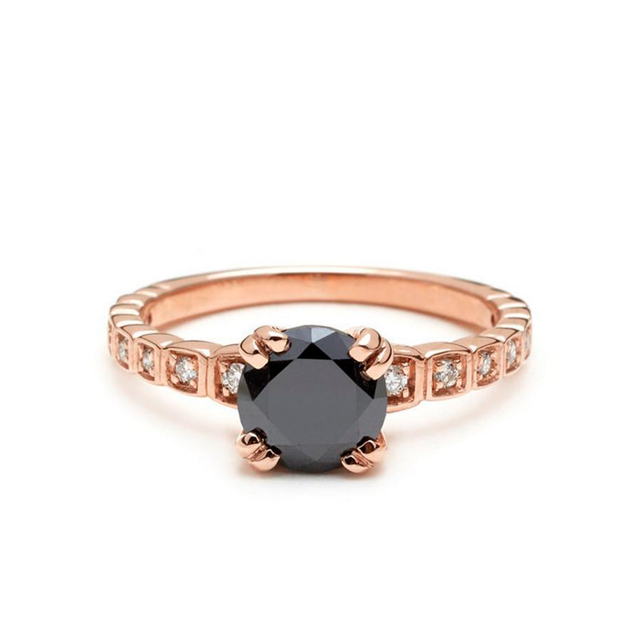 Wheat Engagement Ring In Black Diamond Rose Gold With White