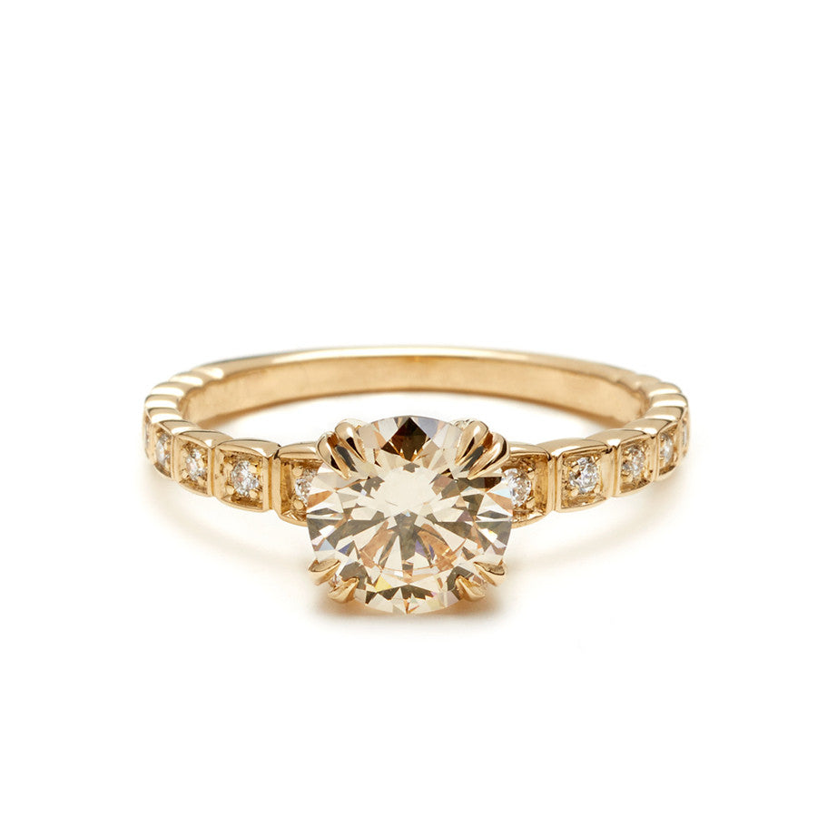 engagement carat wedding stacked with band in ring shadow cut yellow set chinchar round maloney diamond champagne gold rings brilliant