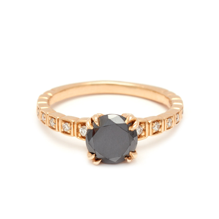 867706c82af39 Tapered Wheat Engagement Ring - Yellow Gold & Black Diamond
