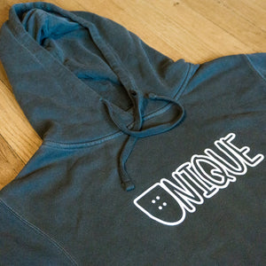 "Dyed Black ""Classic Logo"" Hoodie"