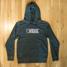 "Load image into Gallery viewer, Dyed Black ""Classic Logo"" Hoodie"