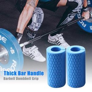 1 Pair Barbell Dumbbell Grips Kettlebell Fat Grip Thick Bar Handles Pull Up Weightlifting Support Silicon Anti-Slip Protect Pad - Exercise Resistance Bands
