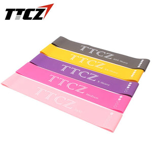 5pcs /set TTCZ Resistance Band Loop 5 Level Natural Latex Pilates Yoga Gym Fitness Exercise Strength Training Free Carry Bag - Exercise Resistance Bands