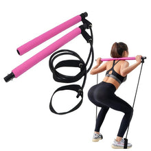 Load image into Gallery viewer, Portable Pilates Exercise Stick Yoga Exercise Pilates Stick Bar Body Workout Body Abdominal Resistance Bands Rope Puller - Exercise Resistance Bands