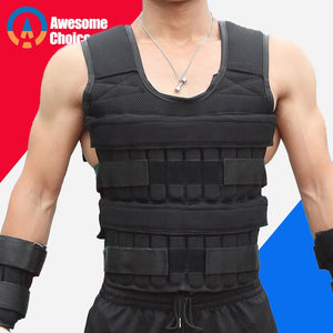 30KG Loading Weight Vest For Boxing Weight Training Workout Fitness Gym Equipment Adjustable Waistcoat Jacket Sand Clothing - Exercise Resistance Bands