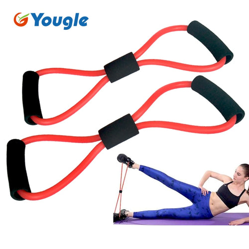 2 pieces 8-Shaped Resistance Loop Band Tube for Yoga Fitness Pilates Workout Exercise Fitness Equipment Chest Developer - Exercise Resistance Bands