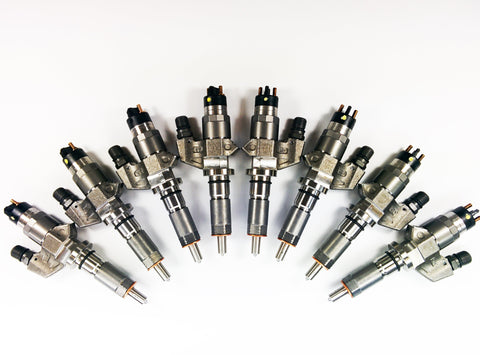 Duramax 01-04 LB7 Reman Injector Set 100 Percent Over SAC Nozzle Dynomite Diesel
